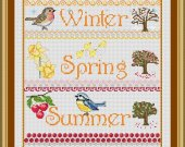 The Season's Sampler is now a 14 count cross stitch kit with 100% cotton threads