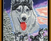 NEW HUSKY is a 14ct Cross Stitch Kit with sorted 100% cotton threads and Zweigart Aida