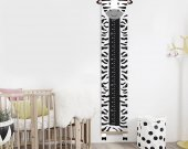 Height chart zebra, Africa kids decor, Black white decor, Custom height meter,