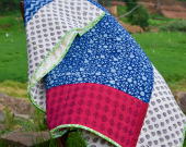Quilt | Twin Quilt | Indigo and Pink Quilt | Cotton Quilt | Patchwork Quilt | Indian Quilt | Handmade Quilt | Quilt From