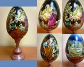 Picture of the Nativity on a wooden egg - Universal gift for Christmas and other holidays, as well as a wonderful home decor.