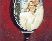 Custom wedding portrait on the photo (on a wooden egg).