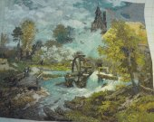 THIS WATERMILL PICTURE is a beautiful finished Bulgarian goblin Needle point unframed