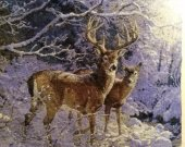THIS STAG and DOE PICTURE is a large beautiful finished Bulgarian goblen, Tapestry, embroidery, Needle Point unframed