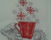 "This Christmasy CUP OF CHEER is a beautiful completed cross stitch and black work picture ready for framing size 8""x 10"""