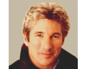 This is a 14 count cross stitch kit of RICHARD GERE Back ground unstitched