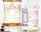 Unicorn Chip Bag, Treat Bag, Unicorn Birthday Party, Magical Birthday Party,  Custom Chip Bag, Digital, Printed and Shipped