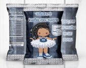 Denim and Pearls Birthday Party, Denim Theme, Denim Favors, Denim Chip Bag, Denim Digital