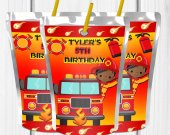 Fire truck Birthday Theme, Firetruck Capri Sun, Firetruck Juice Label Firetruck Party Favors, Fieetruck Party Ideas, Firetruck Digital