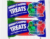 PJ Masks Party, Pj Masks Rice Krispie Treats, Pj Masks Party Favors, Pj Masks Decor, Rice Krispie Treats, Pj Mask Labels, Digital