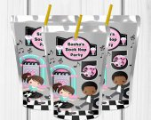 Sock Hop Birthday Party, Sock Hop Juice Label, Sock Hop Sweet 16, Sock Hop Party Favors, Sock Hop Party Decor, other skin tones available