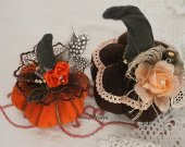Halloween fabric soft pumpkins. Fall centerpiece decor. Shabby chic Halloween. Fall farmhouse decor