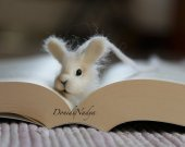 White bunny needle felted bookmark. Gift for her. Present for him. Gift for teacher. Housewarming gift