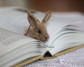 Bunny needle felted bookmark. Gift for him. Gift for her.