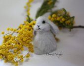 Needle felted grey bunny. Small fluffy bunny. Easter bunny. Housewarming gift. Collectible OOAK doll.