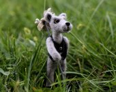 Needle felted wolf-traveller. Miniature animals.
