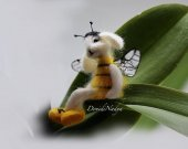 Needle felted white bunny bumblebee Tomas. Collectible wool hare bee. White rabbit elf doll.