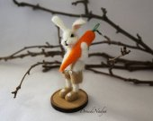 Needle felted white Easter bunny with carrot. Collectible doll fluffy rabbit Arnold. OOAK doll. Easter gift idea.