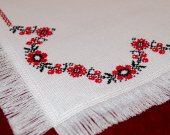 Vintage Embroidery Table Cloth - Wreath of Flowers