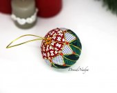 Kimekomi Christmas ball. Xmas tree fabric ornament. Collectible Christmas ornament. Xmas gift.