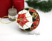 Kimekomi Christmas fabric ball. Xmas tree hanging toy. Housewarming gift.