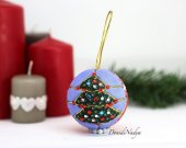 Kimekomi Christmas tree ornament hanging ball. Christmas housewarming gift. Collectible fabric xmas balls.