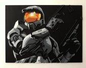 Handmade Halo 2, Halo 2 wall art - greyscale