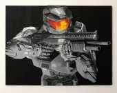 Handmade Master Chief with a shotgun wall art, Master Chief portrait