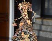 Wire Fairy Sculpture -  Fantasy Wire Sculptures - table clock - wire art fairies home decor- lady figurine