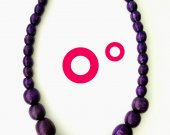 Handmade Purple Wooden Beaded Stretch Necklace