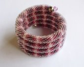 Beaded Crochet Bracelet, Burgundy and white