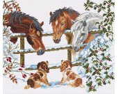 Look how the dogs watch the  SNOW HORSE in this 14 count cross stitch kit with 100% cotton threads