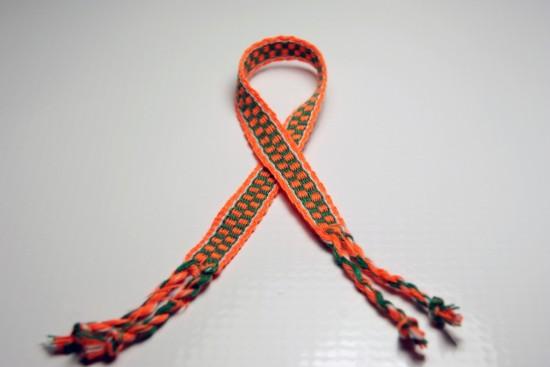 Handmade Friendship Bracelet Orange, Green, White