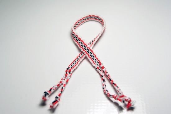 White, Black and Red Friendship Bracelet