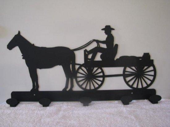 Horse and Wagon Coat Rack Metal Wall Art Silhouette