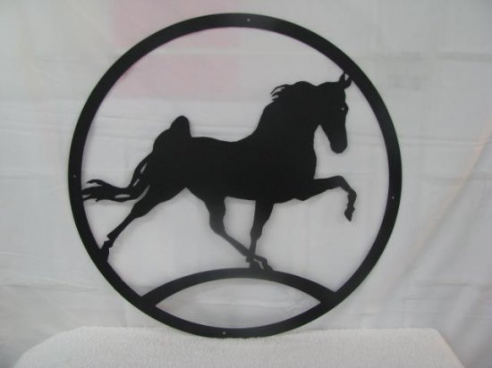 Walking Horse Silhouette Metal Wall Yard Art