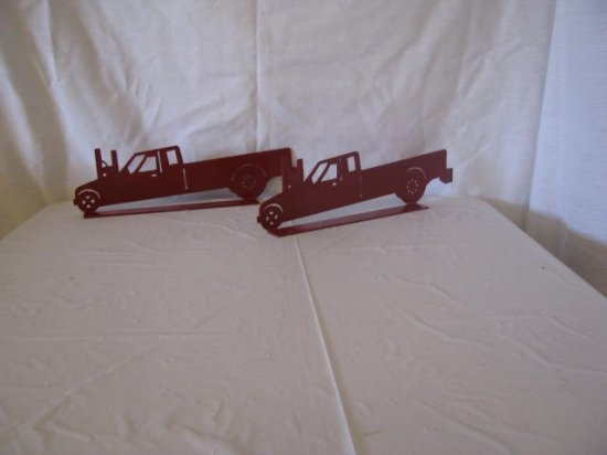 Red Pulling Truck Metal Wall Art Silhouette Mailbox Topper Set of (2)