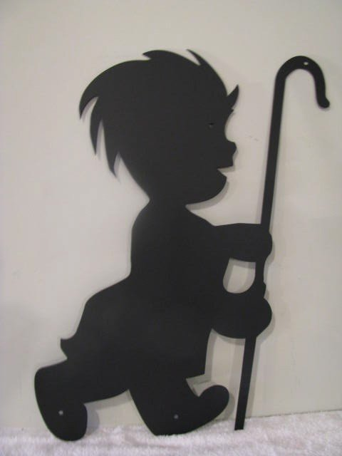 Little Shepherd Boy Metal Wall Art Silhouette