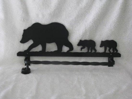 Bear Towel Rack Metal Wildlife Wall Art Silhouette