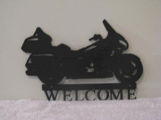 Motorcycle Welcome Metal Wall Art Silhouette