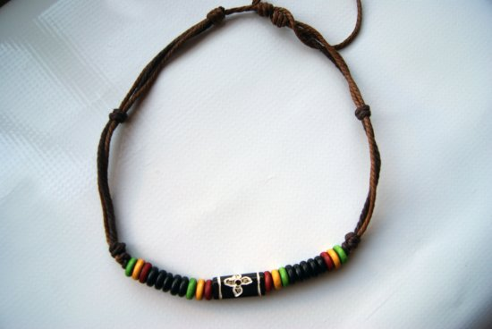 Handmade Tribal Necklace With Green, Yellow and Red Charms