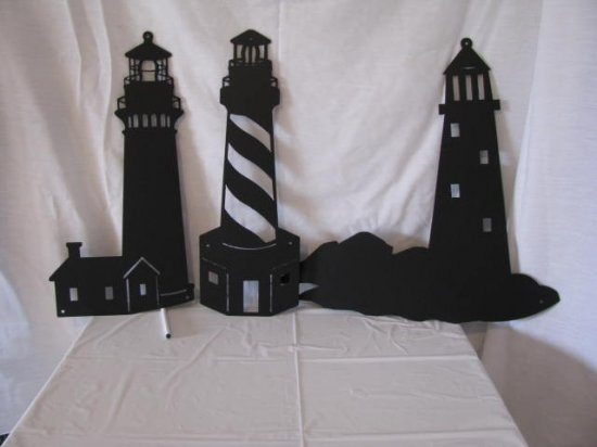 Lighthouse  Metal Wall Art Silhouette Set of Three
