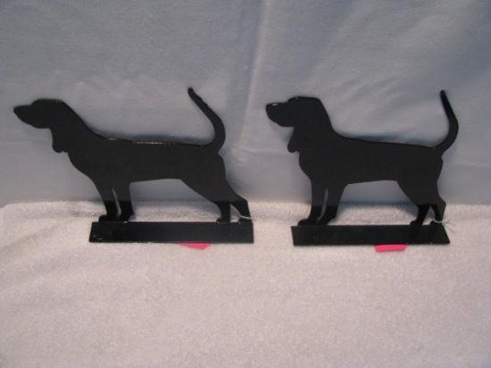 Black and Tan CoonHound Dog Metal Art Silhouette Mailbox Topper Set (2)