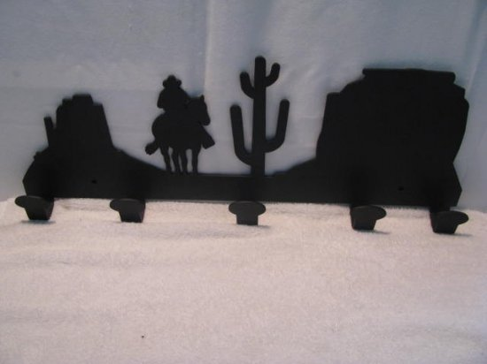 Scenic Arizona Cowboy Coat Rack Metal Western Wall Art Silhouette