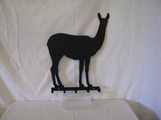 Llama 002 Key Holder 5 Hook Metal Farm Wall Art Silhouette
