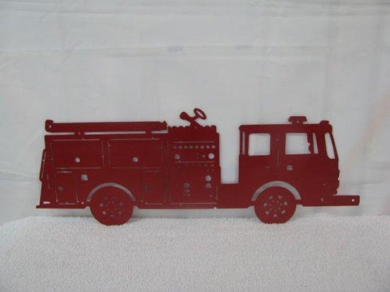 Fire Truck Silhouette Metal Wall Yard Art