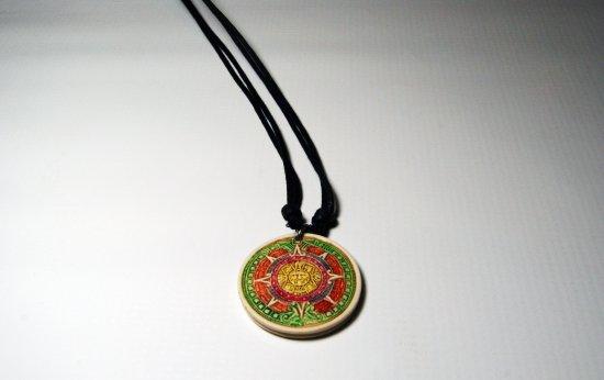 Aztec Sun Necklace Stone Green and Orange Pendant