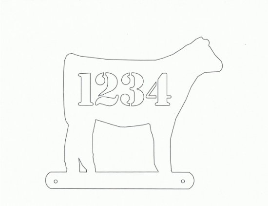 Beef Calf Mailbox Topper  X Large Farm livestock Art Silhouette with Numbers