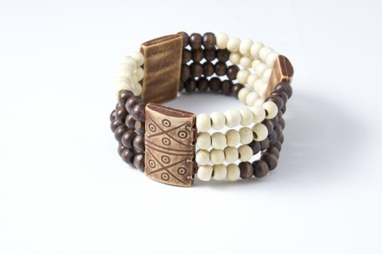Stretchable Brown and White Beaded Bracelet with Tribal Accents