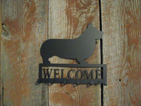Corgi Welcome with Key Holder Metal Dog Wall Art Silhouette
